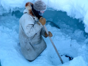Gary reopening the water hole in -48 degree weather