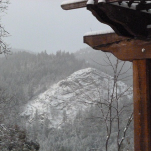 View of snow-covered hills from the kitchen window.