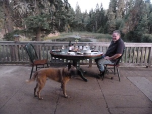 Richard cleaned debris from home improvement projects and other miscellany from the deck, so we could enjoy pond-side dining in the warm September evenings.