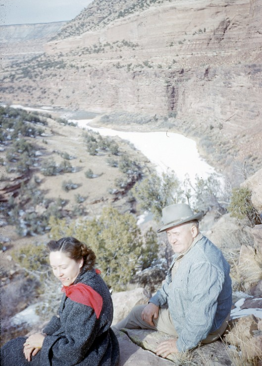 Vee with her father (my grandfather) in Colorado.